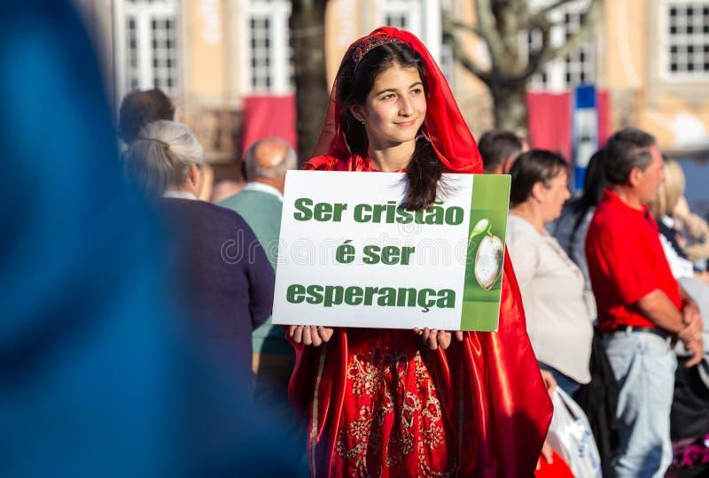 Godsdienstige Optocht bij de Vaders Dag S Jose in Povoa DE Lanhoso, Braga, Portugal stock foto