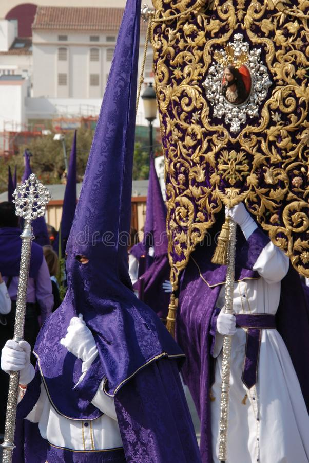 Godsdienstige optocht, Heilige Week, Malaga, Spanje. stock foto
