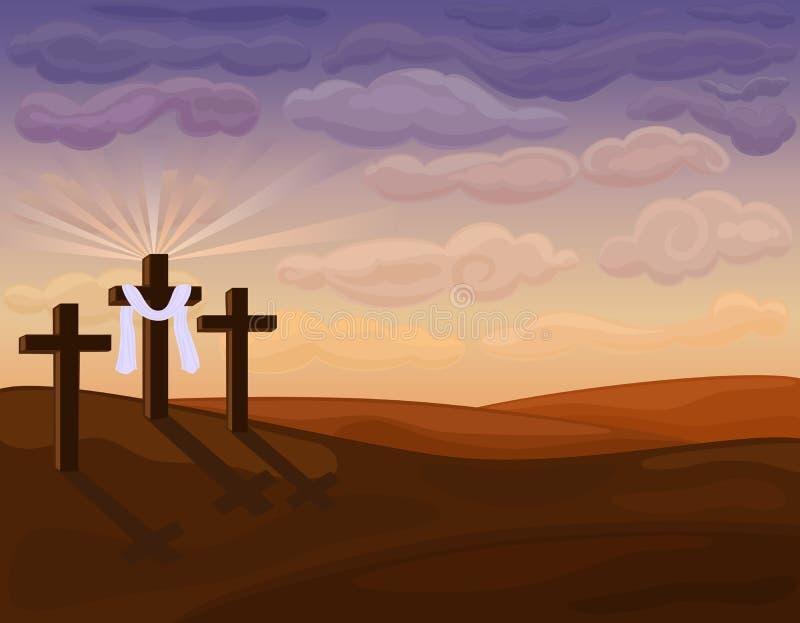 Godsdienstige Pasen - kruisiging op Golgotha vector illustratie
