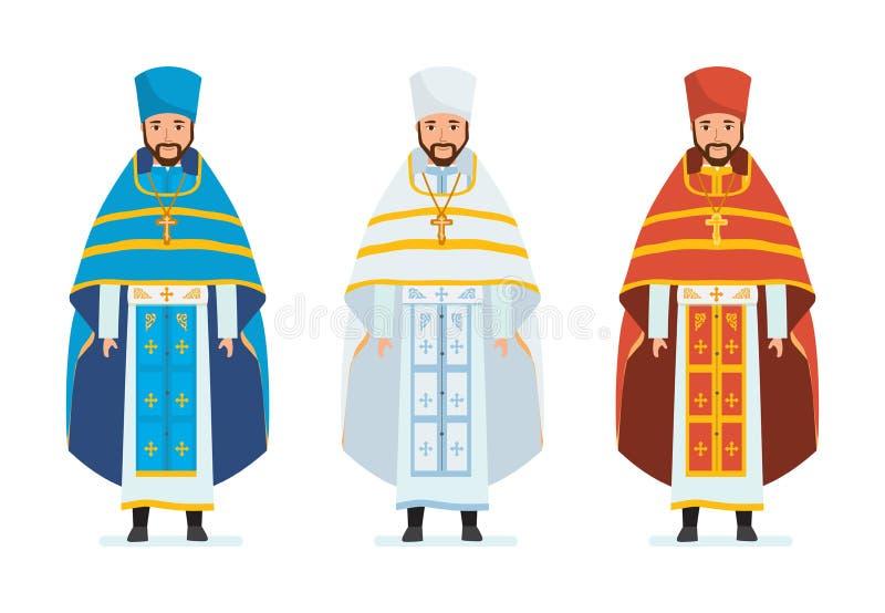 Godsdienstige priesters, in mooie geestelijke robes, soutanes, gewaden service royalty-vrije illustratie
