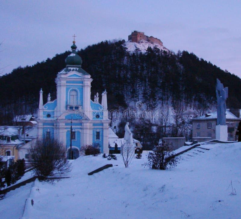 Godsdienstige voorwerpen van de Oekraïense stad van Kremenets in de winter royalty-vrije stock foto