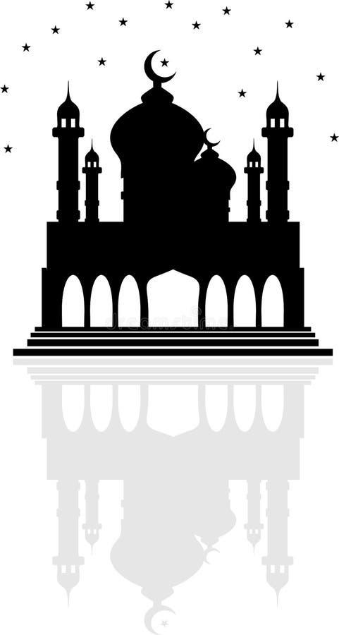 Godsdienstmoskee met Toenemende maan en sterren, en een bezinning o vector illustratie