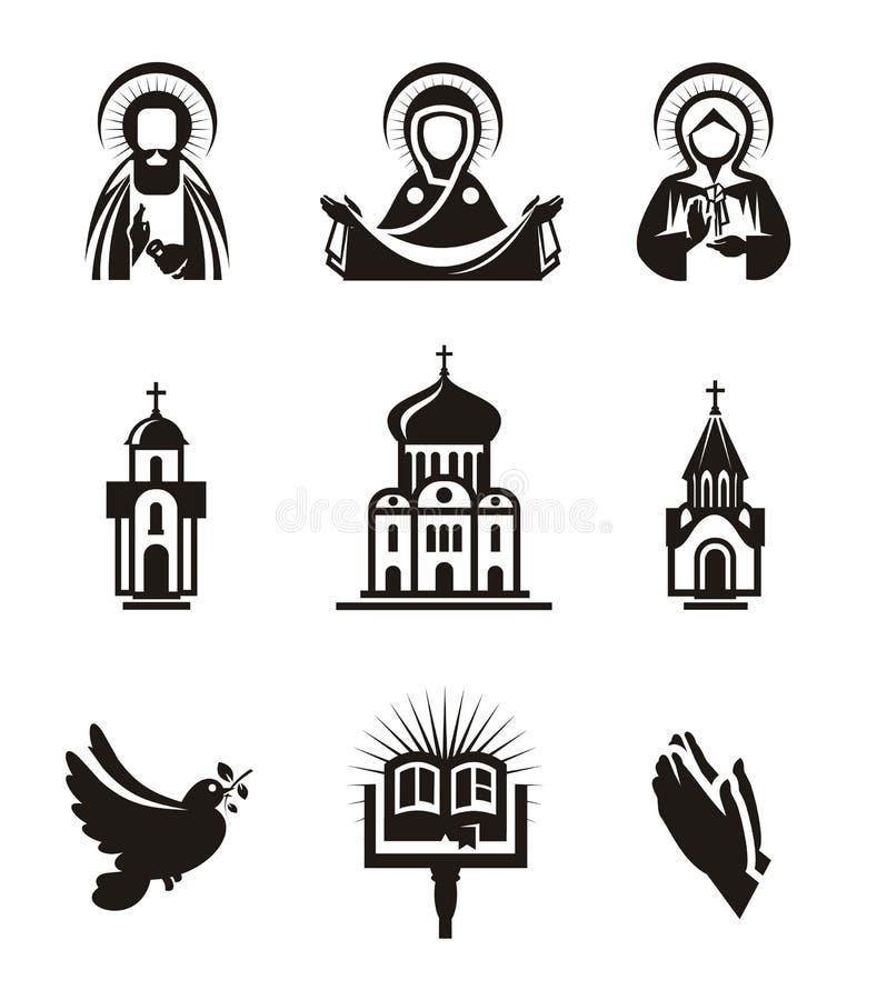 Godsdienstpictogrammen royalty-vrije illustratie