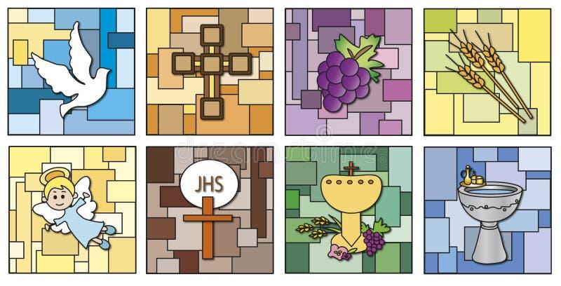 Godsdienstpictogrammen vector illustratie