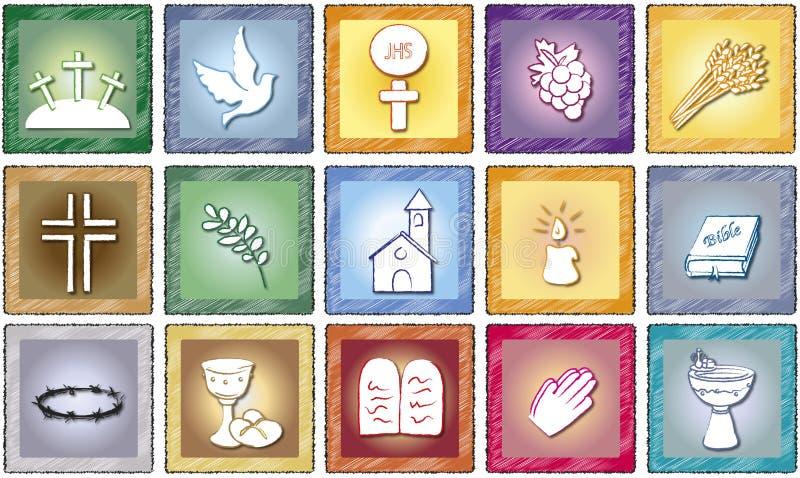 Godsdienstpictogrammen stock illustratie