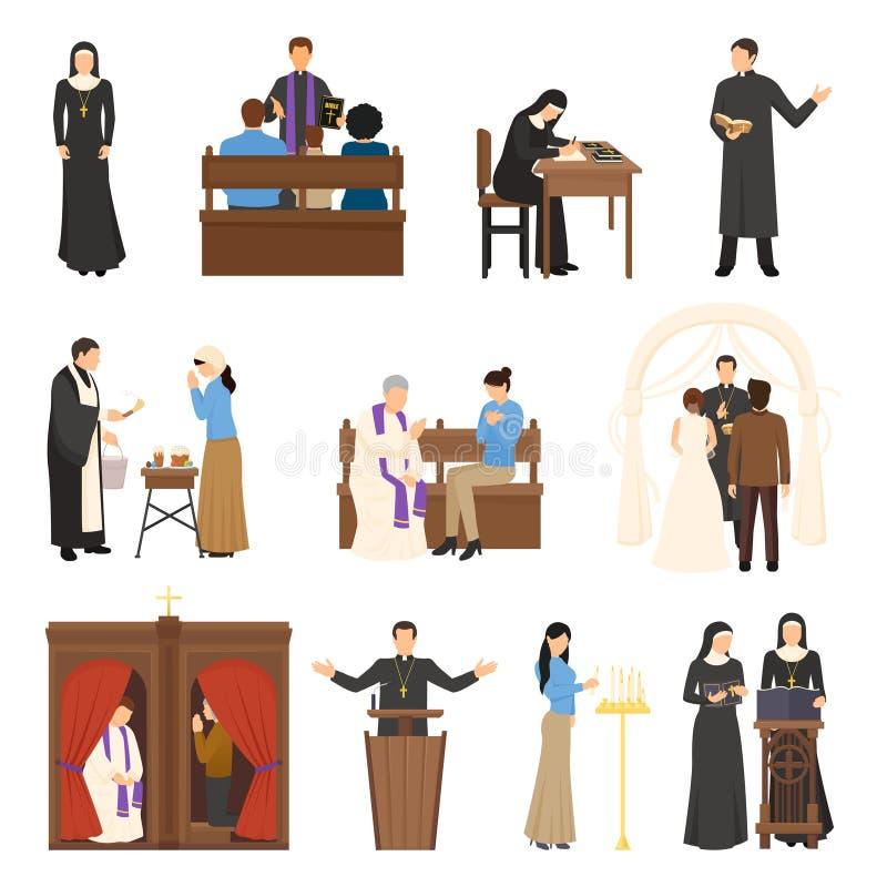 GodsdienstSet van tekens vector illustratie