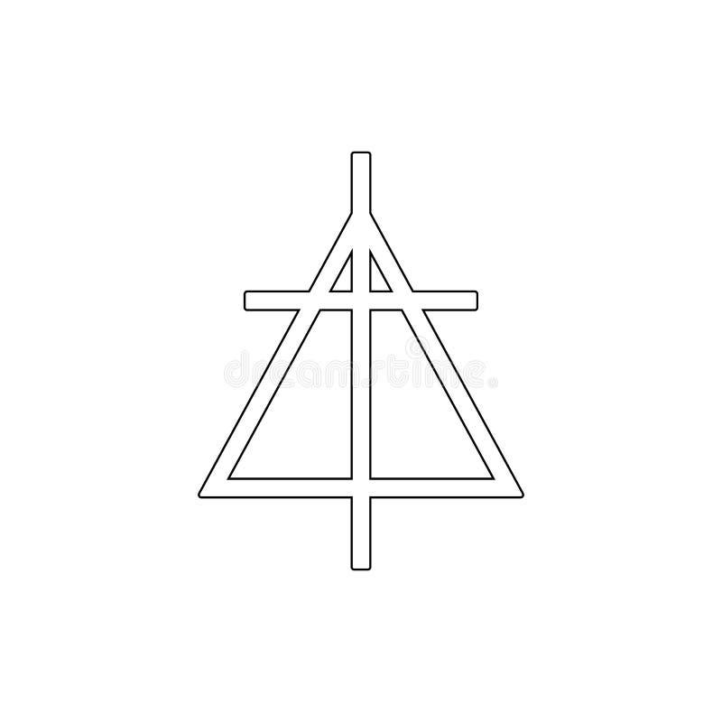 Godsdienstsymbool, het Christen opnieuw gevormde pictogram van het kerkoverzicht Element van de illustratie van het godsdienstsym stock illustratie