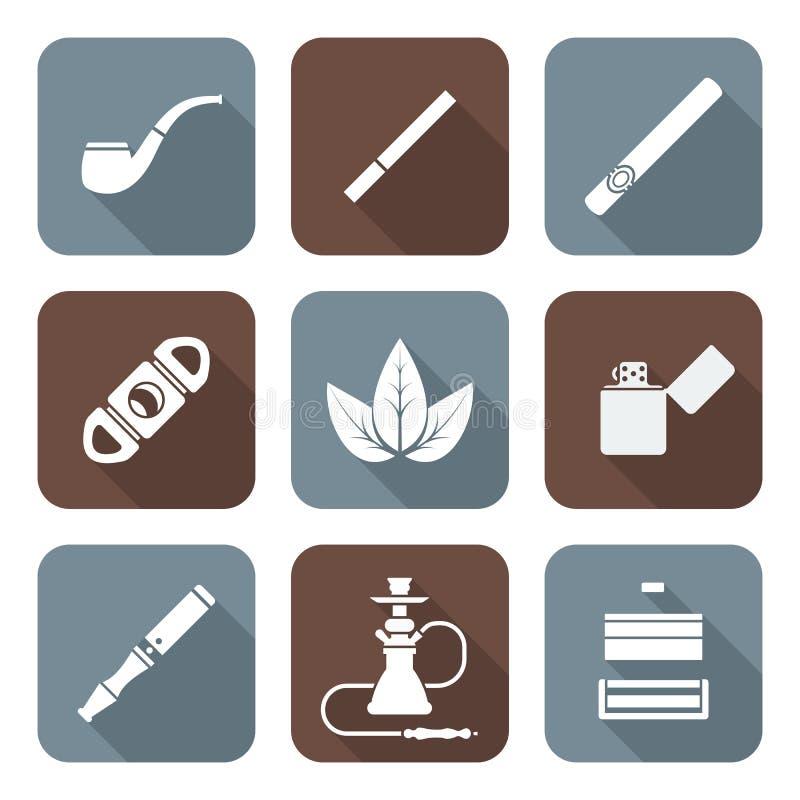 Godset för tobak för vit färglägenhetstil bearbetar det olika symbolsuppsättningen vektor illustrationer