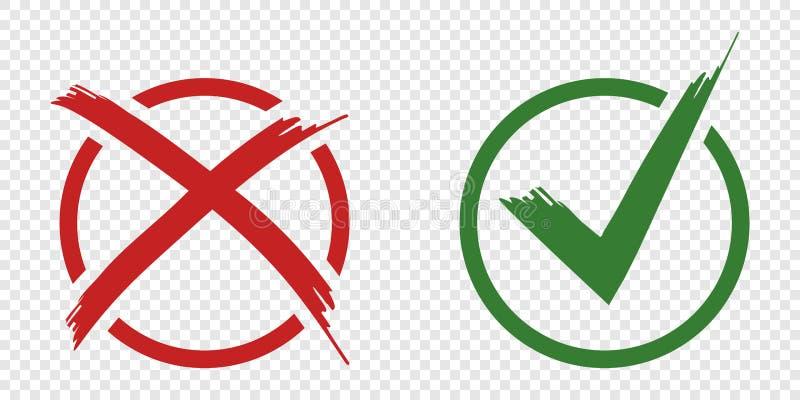 Godtagande- och kasseringssymbolvektorn knäppas för röstar, valvalet Gränser för cirkelborsteslaglängd Symbolisk reko och x-symbo stock illustrationer