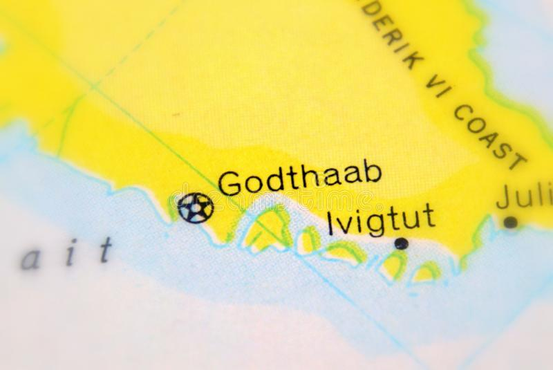 Godthaab, the former name of Nuuk, Greenland`s capital. Godthaab, the former name of Nuuk, Greenland`s capital selective focus royalty free stock image