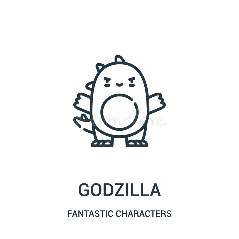 godzilla从意想不到的字符收藏的象传染媒介 稀薄的线godzilla概述象传染媒介例证 向量例证