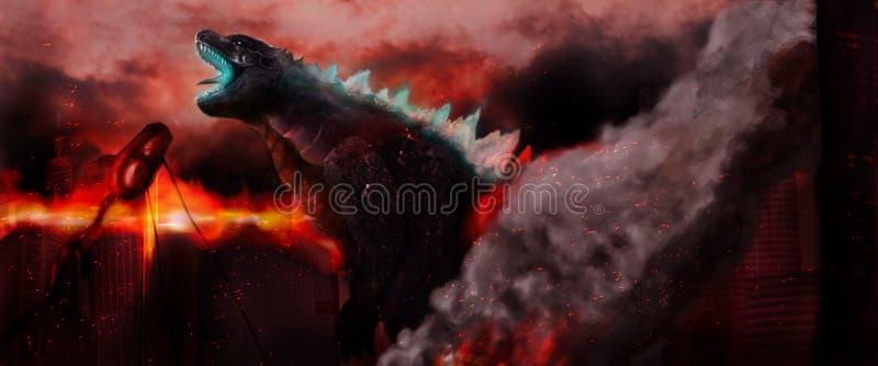 Godzilla die een stad branden royalty-vrije stock fotografie
