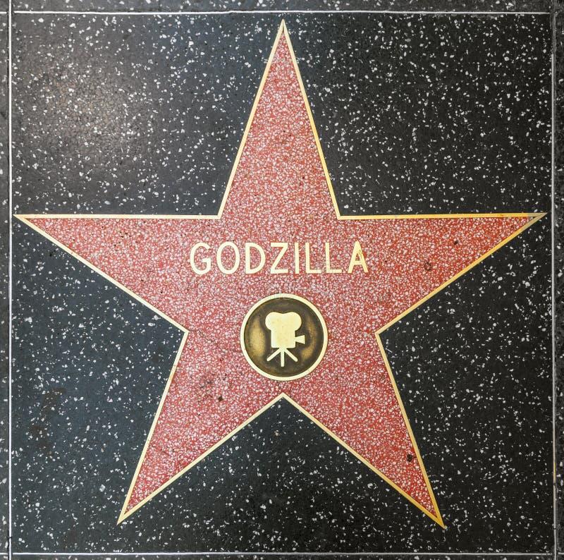 Godzilla's star on Hollywood Walk of Fame. HOLLYWOOD - JUNE 26: Godzilla's star on Hollywood Walk of Fame on June 26, 2012 in Hollywood, California. This star is stock photos