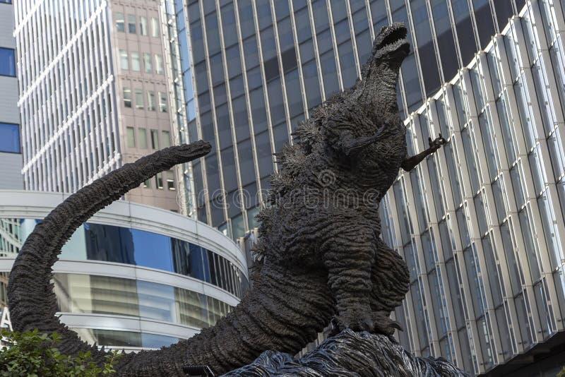 Godzilla statue in Hibiya. January 21, 2019, Tokyo, Japan - A Godzilla statue is seen in front of Hibiya Chanter shopping mall in Yurakucho district stock images