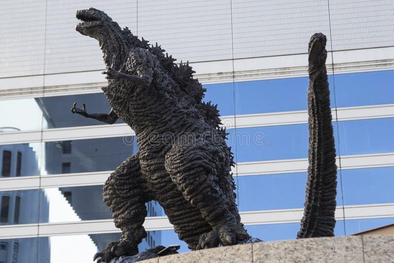 Godzilla statue in Hibiya. January 21, 2019, Tokyo, Japan - A Godzilla statue is seen in front of Hibiya Chanter shopping mall in Yurakucho district royalty free stock photography