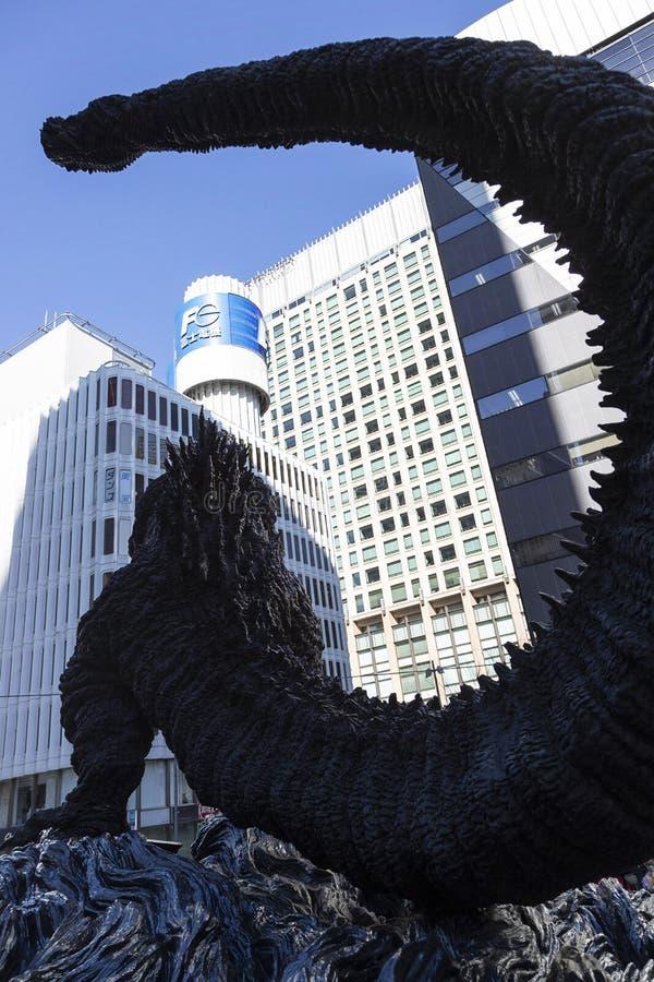 Godzilla statue in Hibiya. January 21, 2019, Tokyo, Japan - A Godzilla statue is seen in front of Hibiya Chanter shopping mall in Yurakucho district royalty free stock photos