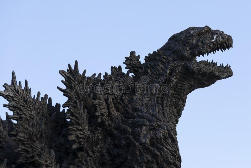 Godzilla statue in Hibiya. January 21, 2019, Tokyo, Japan - A Godzilla statue is seen in front of Hibiya Chanter shopping mall in Yurakucho district stock photos