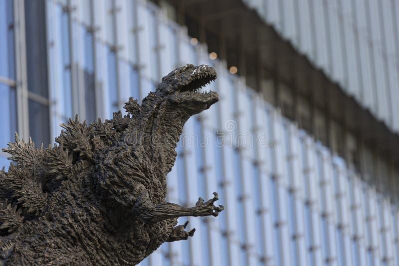 Godzilla statue in Hibiya. January 21, 2019, Tokyo, Japan - A Godzilla statue is seen in front of Hibiya Chanter shopping mall in Yurakucho district royalty free stock images
