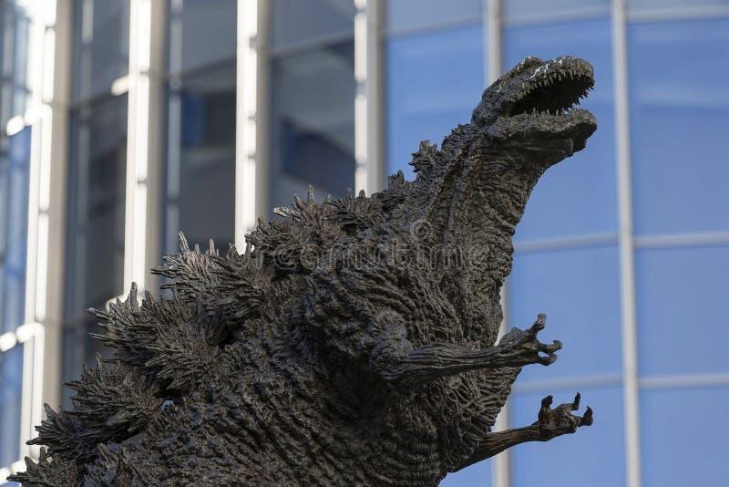 Godzilla statue in Hibiya. January 21, 2019, Tokyo, Japan - A Godzilla statue is seen in front of Hibiya Chanter shopping mall in Yurakucho district stock photo