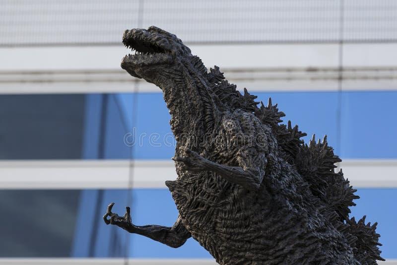 Godzilla statue in Hibiya. January 21, 2019, Tokyo, Japan - A Godzilla statue is seen in front of Hibiya Chanter shopping mall in Yurakucho district royalty free stock photo