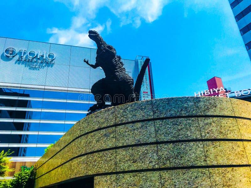 Godzilla statue in Tokyo. Godzilla statue at Hibya midtown in Japan stock photos