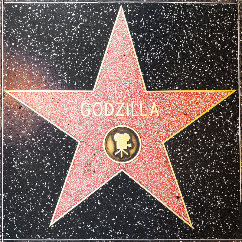 Godzillas star on Hollywood Walk of Fame. LOS ANGELES, USA - JUNE 26, 2012: Godzillas star on Hollywood Walk of Fame in Hollywood, California. This star is royalty free stock images