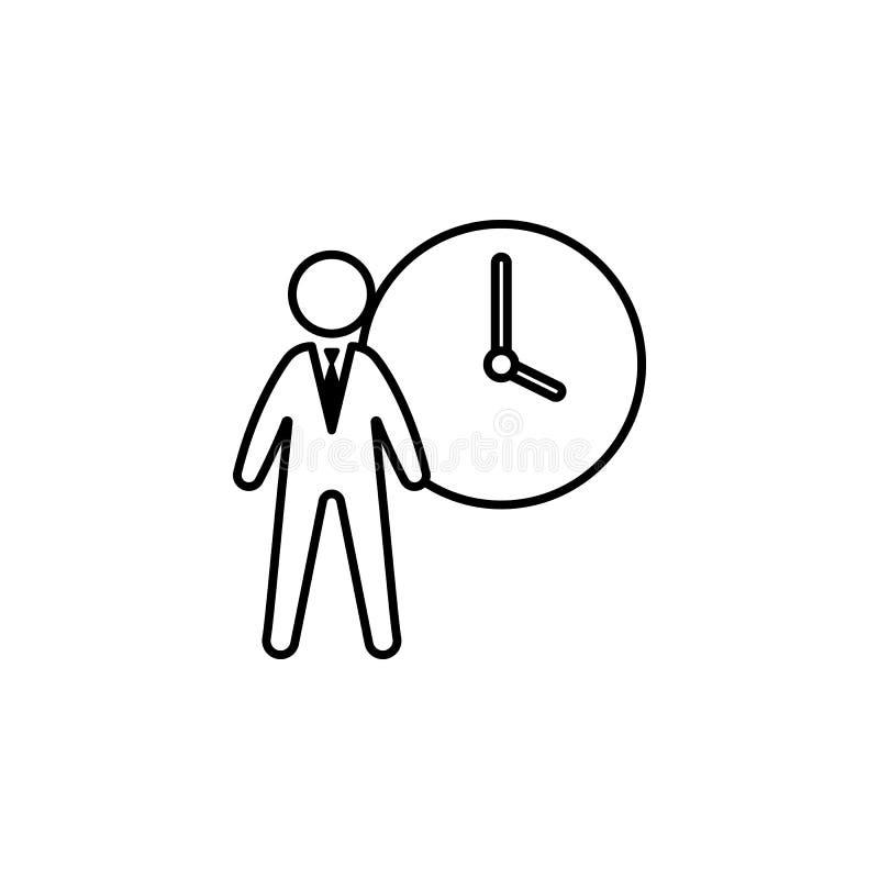 Godziny, biznesmen, rozkład ikona na białym tle Może używać dla sieci, logo, mobilny app, UI, UX royalty ilustracja