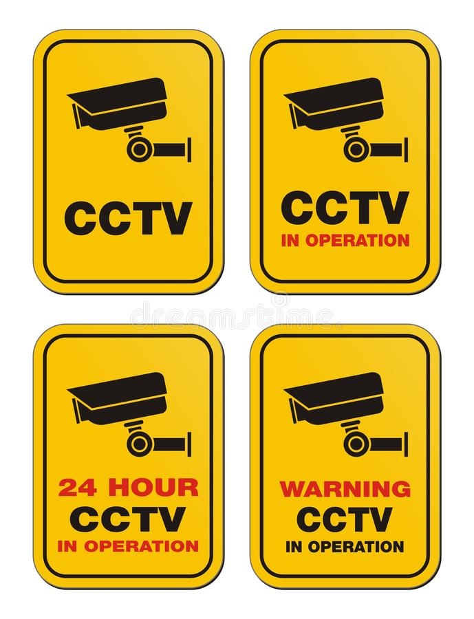 24 godziny CCTV funkcjonującego - kolorów żółtych znaki ilustracja wektor
