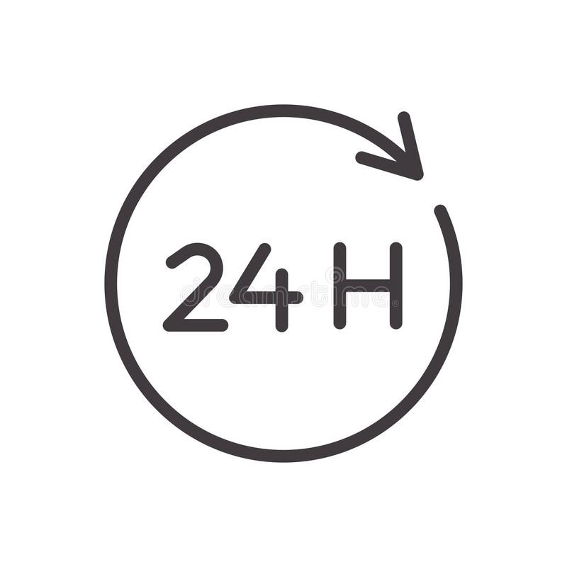 24 godziny cieniej? kreskow? ikon? Wektorowy projekt, łatwo editable Zawsze otwiera dwadzieścia cztery godziny usługi ilustracja wektor