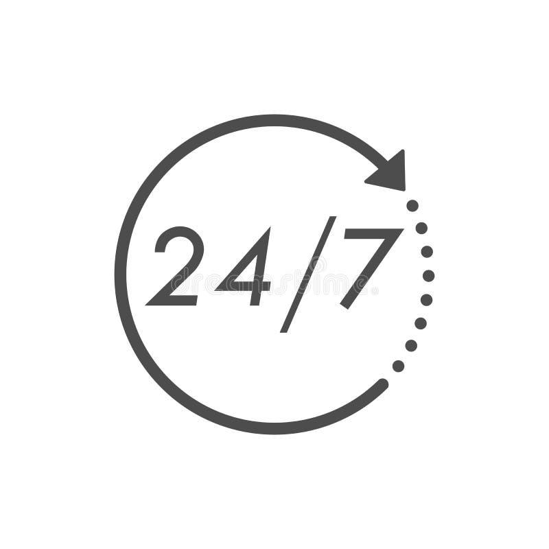 24 godziny 7 dni ikona Czasu zegaru ikony wektoru ilustracja Płaski projekt ilustracja wektor