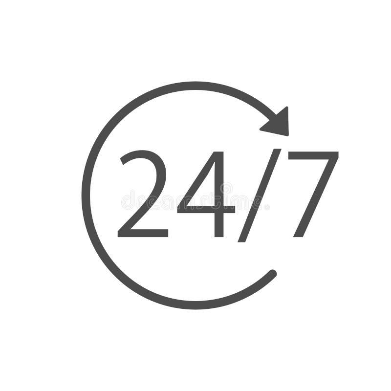 24 godziny 7 dni ikona Czasu zegaru ikony wektoru ilustracja Płaski projekt ilustracji
