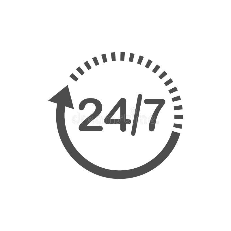 24 godziny 7 dni ikona Czasu zegaru ikony wektoru ilustracja Płaski projekt royalty ilustracja