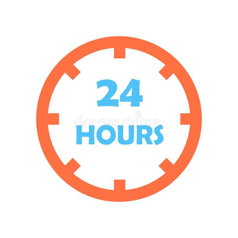 24 godziny ikona wektoru znaka i symbol odizolowywający na białym tle, 24 godziny loga pojęcia ilustracja wektor