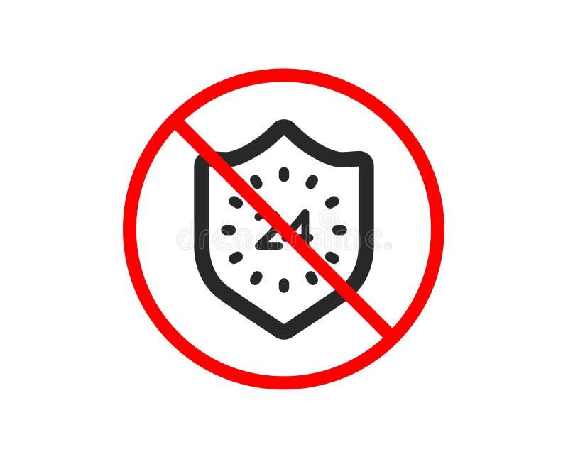 24 godziny ochrony ikony Osłona znak wektor ilustracji