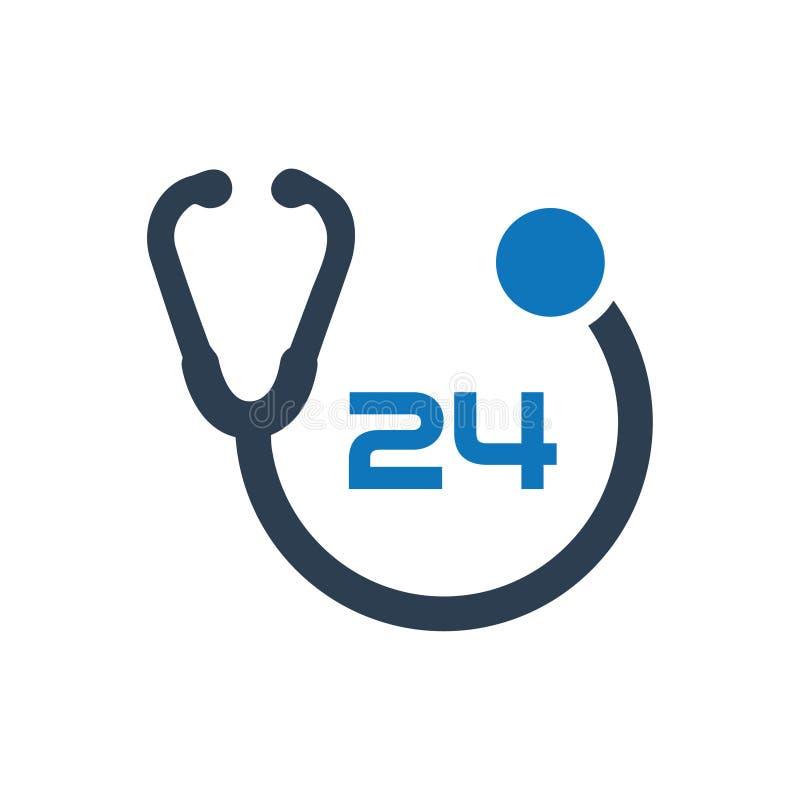 24 godziny opieki zdrowotnej ikony royalty ilustracja