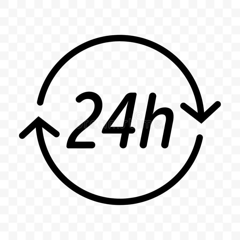 24 godziny osiągają strzałkowatą wektorową ikonę Round zegarowa obsługa klienta, dostawa, supermarket lub sklepu otwarty symbol, ilustracji