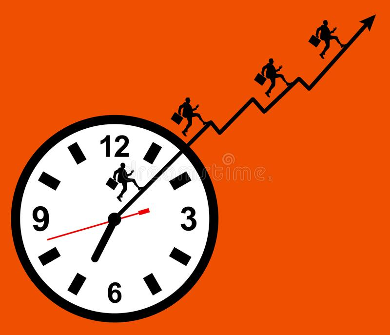 Godziny pracujące stresu przeciążenia ilustracja wektor