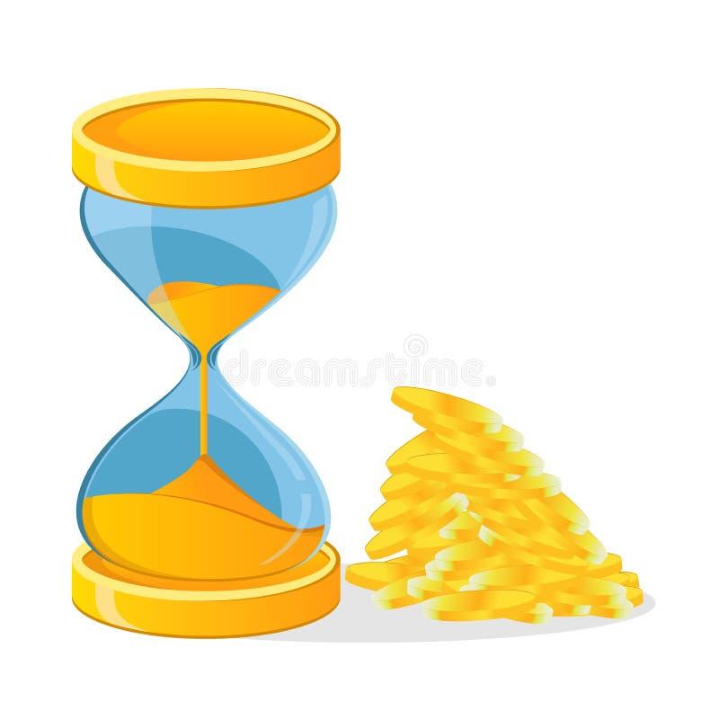 Godziny szkło, monety, wolumin jest pieniądze ilustracji