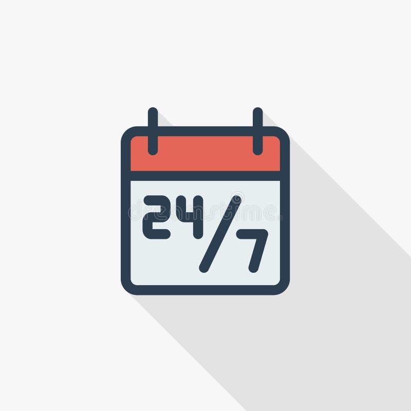 24 7 godziny usługują, planują na kalendarza koloru cienkiej kreskowej płaskiej ikonie, Liniowy wektorowy symbol Kolorowy długi c ilustracja wektor