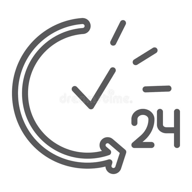 24 godziny wykładają ikonę, usługi i czasu, otwarty całodniowy znak, wektorowe grafika, liniowy wzór na białym tle ilustracji