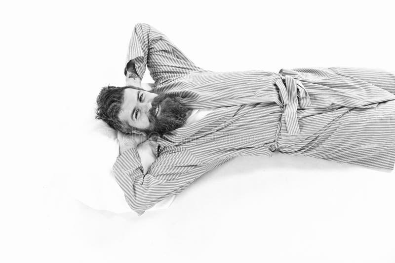 Goed geslapen oncept De mens ontspant en hebbend rust, stock afbeelding