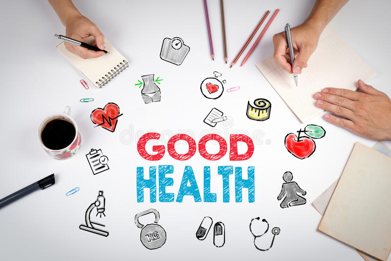 Goed gezondheidsconcept De achtergrond van de Healtylevensstijl De vergadering bij royalty-vrije stock afbeeldingen