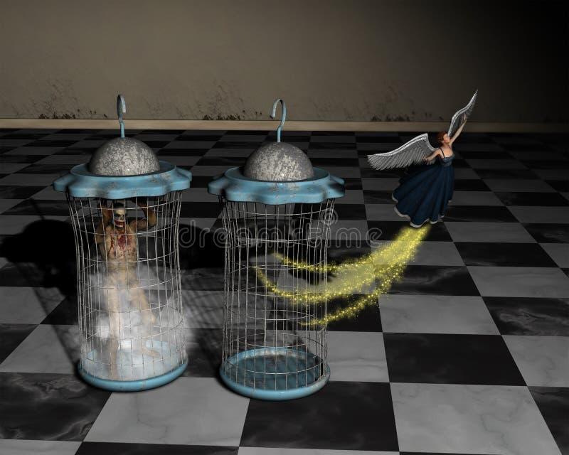 Goed, Kwaad, Gevangenis, Vrijheidsillustratie vector illustratie