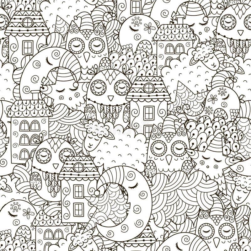 Goed nacht naadloos patroon voor het kleuren van boek stock illustratie