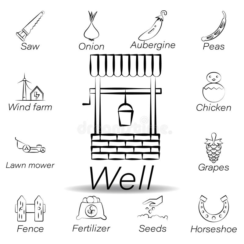 Goed trekt de hand pictogram Element van de landbouw van illustratiepictogrammen De tekens en de symbolen kunnen voor Web, emblee stock illustratie