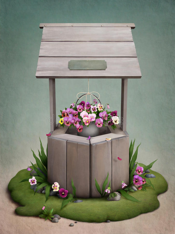 Goed, verfraaid met bloemen vector illustratie
