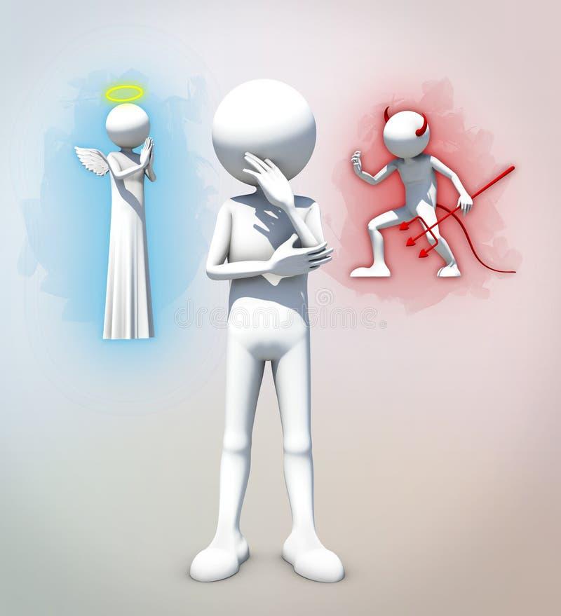 Goed versus kwaad besluit vector illustratie