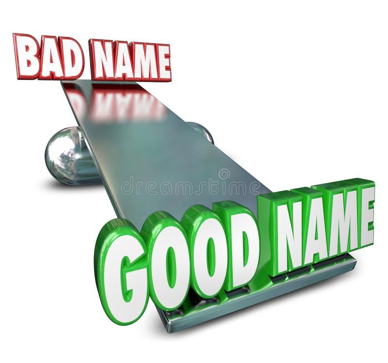 Goed versus Slechte naam het Wegen Identiteit Nieuwe Relaun van het Opties de Beste Merk royalty-vrije illustratie