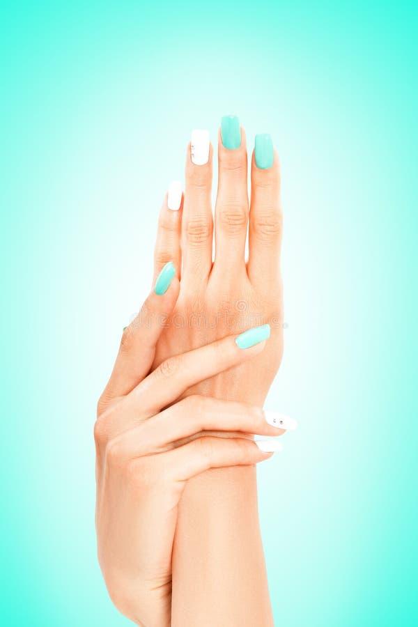 Goed-verzorgde vrouwelijke handen met munt-witte manicure stock foto