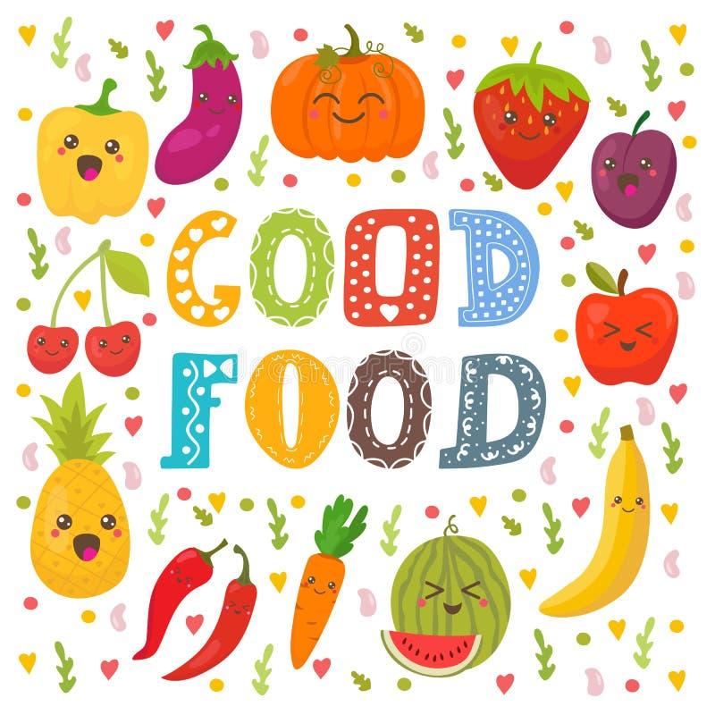 Goed voedsel Leuke gelukkige vruchten en groenten in vector royalty-vrije illustratie